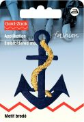 Prym Iron On Embroidered Motif Applique Blue & Gold Anchor