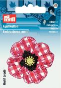 Prym Iron On Embroidered Motif Applique Red & White Country Flower