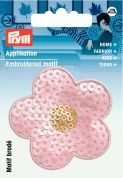 Prym Iron On Embroidered Motif Applique Pink Flower With Sequins