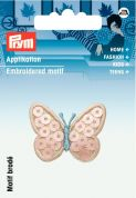 Prym Iron On Embroidered Motif Applique Pink Butterfly With Sequins