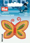 Prym Iron On Embroidered Motif Applique Orange & Yellow Butterfly