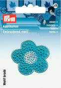 Prym Iron On Embroidered Motif Applique Blue Flower With Sequins