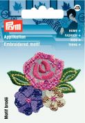 Prym Iron On Embroidered Motif Applique Rose Flowers