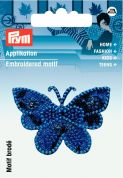 Prym Iron On Embroidered Motif Applique Royal Blue Butterfly