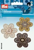 Prym Self Adhesive Embroidered Motif Applique Brown & Natural Flowers