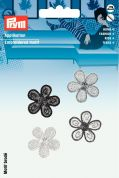 Prym Self Adhesive Embroidered Motif Applique Black & White Flowers