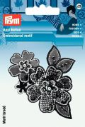 Prym Iron On Embroidered Motif Applique Black Flower Tendril