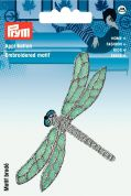 Prym Iron or Sew On Fabric Motif Applique Silver Dragonfly