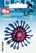 Prym Iron or Sew On Fabric Motif Applique Purple & Pink Flower
