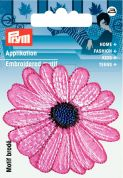 Prym Iron or Sew On Fabric Motif Applique Pink Flower