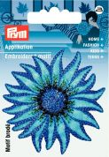 Prym Iron or Sew On Fabric Motif Applique Blue Flower