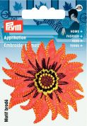 Prym Iron or Sew On Fabric Motif Applique Orange Flower