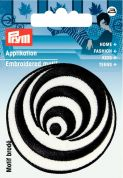 Prym Iron or Sew On Fabric Motif Applique Black & White Circles