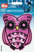 Prym Iron On Embroidered Motif Applique Pink & Black Owl