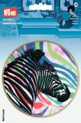 Prym Iron On Embroidered Applique Patch Multicoloured Zebra