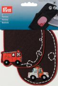 Prym Iron On Childrens Patch Motifs Brown Fire Engine & Police Car  Multicoloured