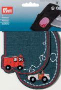 Prym Iron On Childrens Patch Motifs Blue Fire Engine & Police Car  Multicoloured
