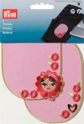 Prym Iron On Childrens Patch Motifs Pink Hearts Flowers Dolls  Multicoloured