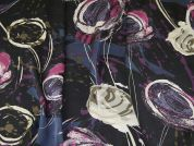Italian Floral Print Silky Crepe Dress Fabric  Multicoloured