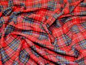 Aberdeen Polyester & Wool Blend Plaid Check Dress Fabric  Red