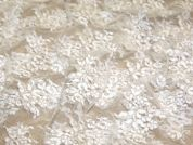 Alicia Double Scallop Fine Corded Couture Bridal Lace Fabric  Ivory
