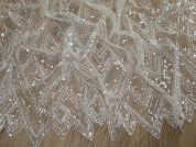 Amelia Sequinned Chevron Couture Bridal Lace Fabric  Ivory