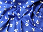 Nautical Anchor Print Stretch Cotton Sateen Dress Fabric  Royal Blue