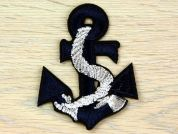 Metallic Nautical Anchor Motifs  Navy Blue & Silver