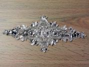 Diamante Crystal Couture Bridal Lace Appliques  Silver