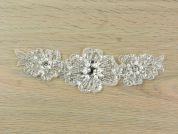 Beaded & Sequinned Couture Bridal Lace Appliques  Silver