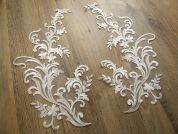 Large Embroidered Couture Bridal Lace Appliques  Ivory