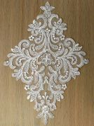 Large Diamond Sequin Couture Bridal Lace Appliques  Ivory
