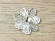 Diamante Crystal Flower Couture Bridal Lace Appliques  Silver