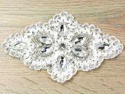 Ribbon Diamante Crystal Couture Bridal Lace Appliques  Ivory & Silver