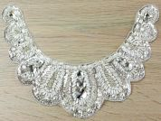Pearl Diamante Crystal Couture Bridal Lace Appliques  Ivory & Silver