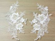 Beaded Couture Bridal Lace Appliques  Ivory