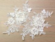 Beaded & Ribbon Embroidery Couture Bridal Lace Appliques  Ivory