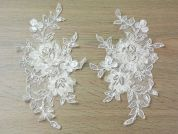 Ribbon Beaded Couture Bridal Lace Appliques  Ivory