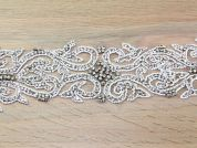 80mm Heavy Crystal Diamante Couture Bridal Lace Applique Trimming  Silver