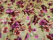 John Kaldor Burn Out Chiffon Fabric  Pink on Gold