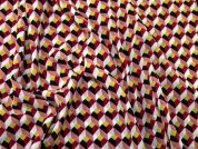 Geometric Print Silky Crepe Dress Fabric  Multicoloured