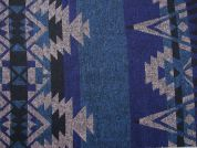 Polyester & Wool Aztec Stripe Coating Dress Fabric  Blue & Teal