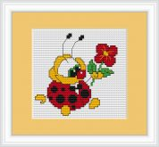 Luca-S Counted Cross Stitch Kit Ladybird with Flower