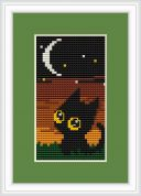 Luca-S Counted Cross Stitch Kit Cat Night