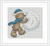 Luca-S Counted Cross Stitch Kit Bruno Builds a Snowman