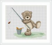 Luca-S Counted Cross Stitch Kit  Fishing Bruno