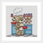 Luca-S Counted Cross Stitch Kit Bruno in the Kitchen