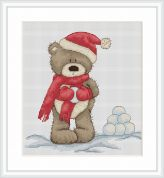 Luca-S Counted Cross Stitch Kit Bruno Makes Snowballs