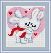 Luca-S Counted Cross Stitch Kit Love Bunnies