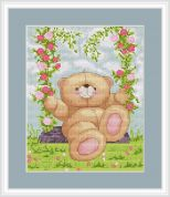 Luca-S Counted Cross Stitch Kit Bear on a Swing